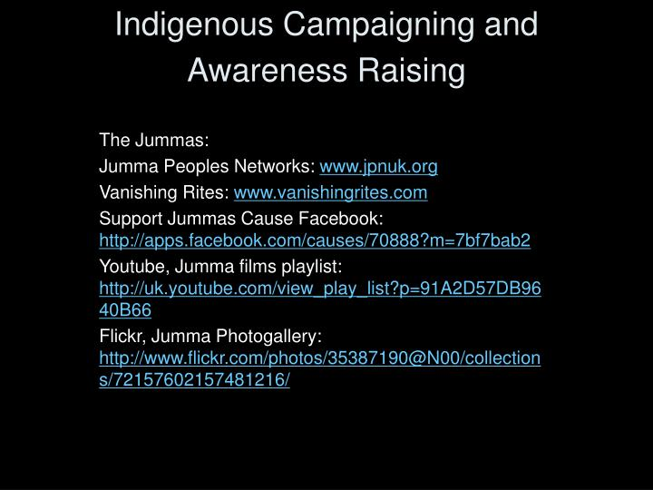 indigenous campaigning and awareness raising n.