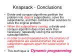 knapsack conclusions