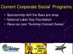 current corporate social programs