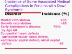 incidence of some associated medical complications in persons with down syndrome disorder incidence