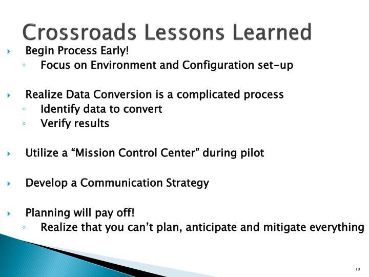 Crossroads Lessons Learned