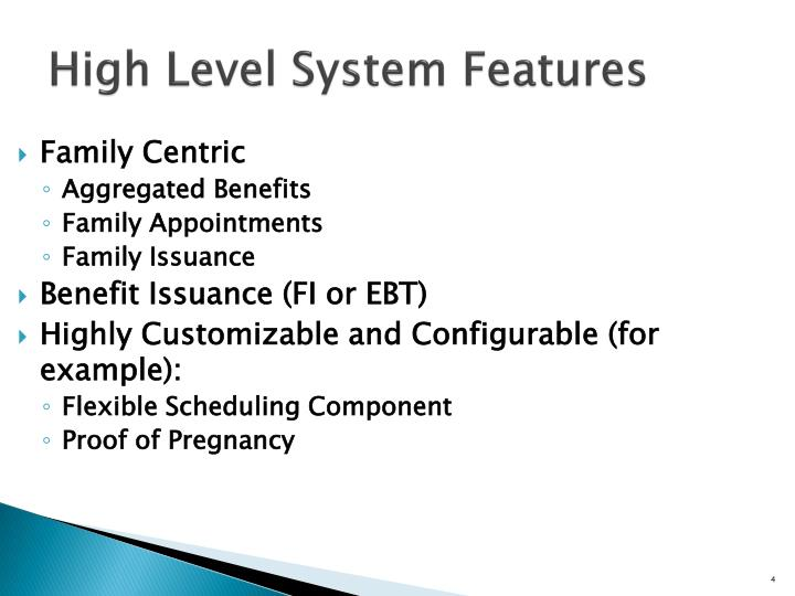 High Level System Features