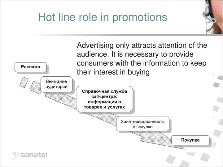 Hot line role in promotions