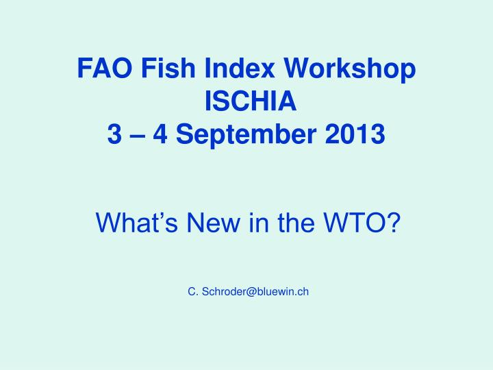 fao fish index workshop ischia 3 4 september 2013 n.