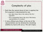 complexity of plus