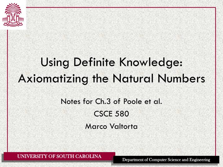 using definite knowledge axiomatizing the natural numbers n.