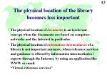 the physical location of the library becomes less important