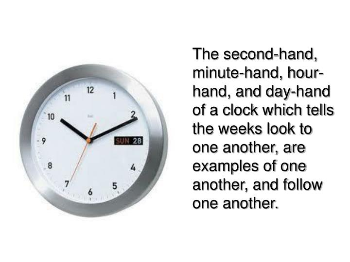The second-hand, minute-hand, hour-hand, and day-hand of a clock which tells the weeks look to one another, are examples of one another, and follow one another.
