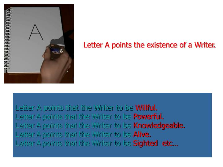 Letter A points the existence of a Writer.