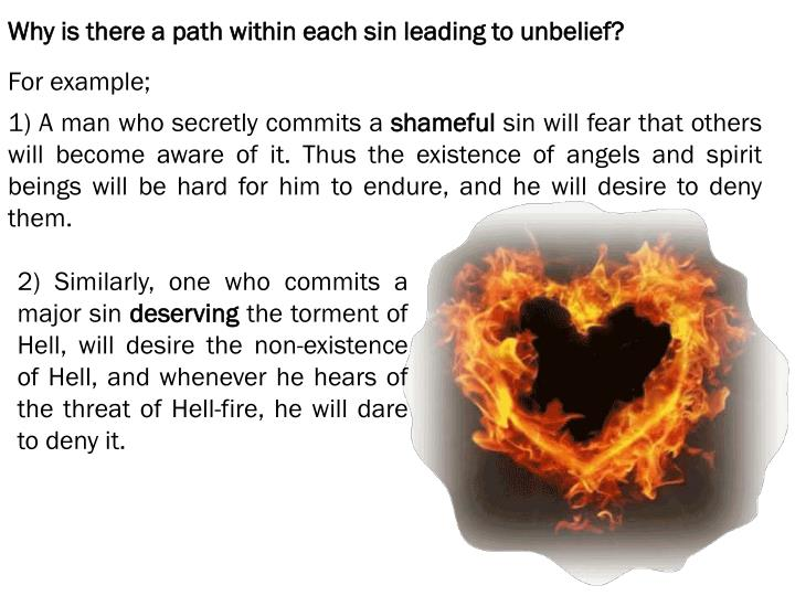 Why is there a path within each sin leading to unbelief?