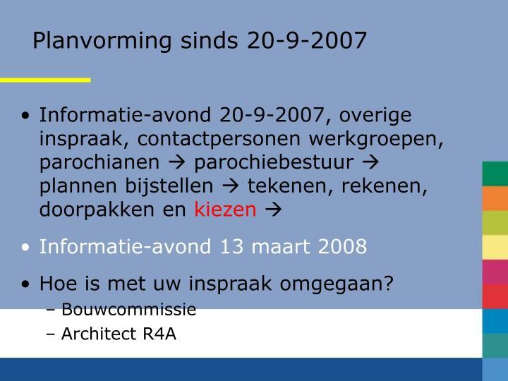 Planvorming sinds 20-9-2007