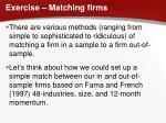 exercise matching firms