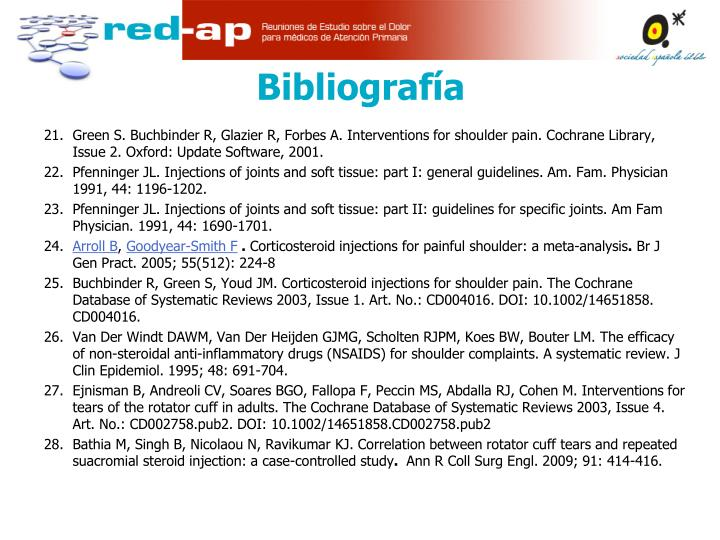 Green S. Buchbinder R, Glazier R, Forbes A. Interventions for shoulder pain. Cochrane Library, Issue 2. Oxford: Update Software, 2001.