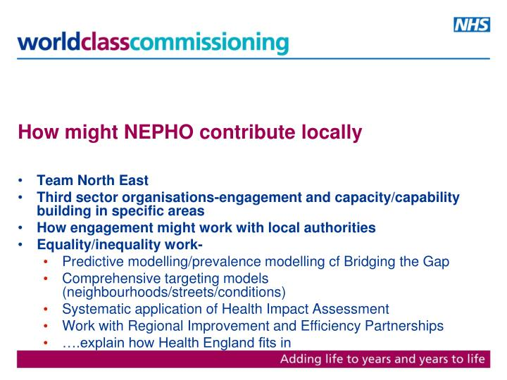 How might NEPHO contribute locally
