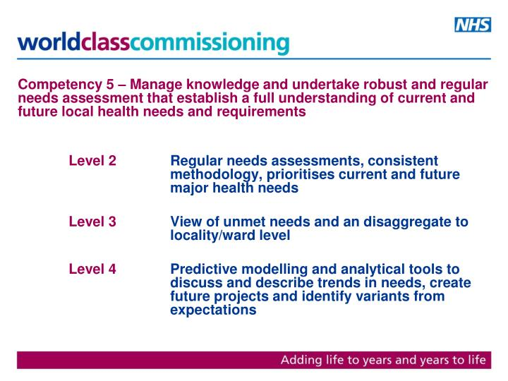 Competency 5 – Manage knowledge and undertake robust and regular needs assessment that establish a full understanding of current and future local health needs and requirements