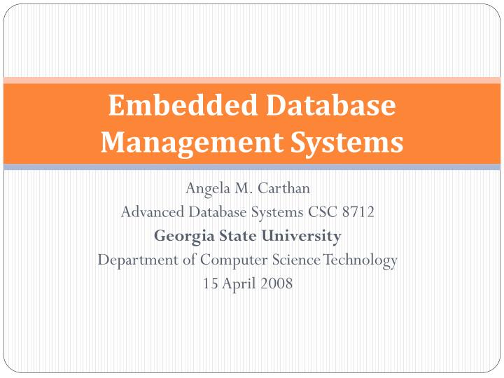 embedded database management systems n.