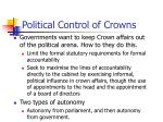 political control of crowns