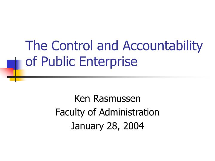 the control and accountability of public enterprise n.