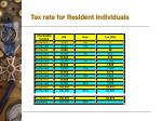 tax rate for resident individuals
