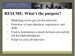 resume what s the purpose