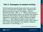 part 3 examples of student writing