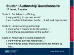 student authorship questionnaire 17 items 6 scales