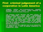 first criminal judgement of a corporation in latin america