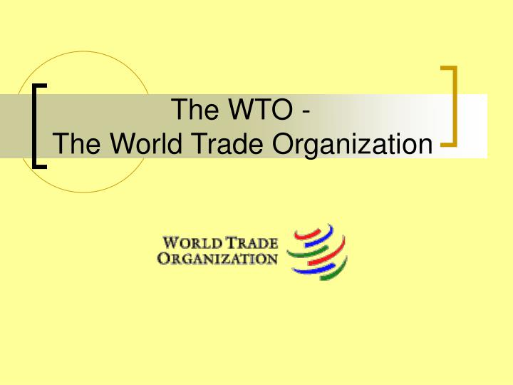 the wto the world trade organization n.