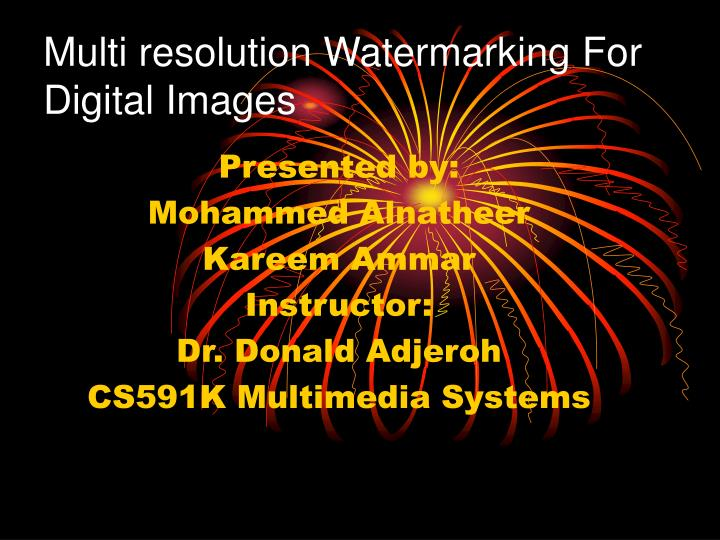 multi resolution watermarking for digital images n.