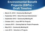 environmental benefit projects ebps draft timeline