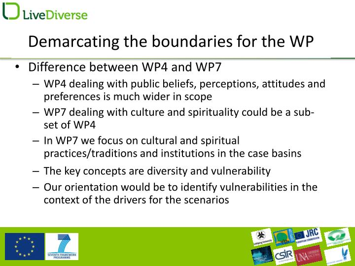 Demarcating the boundaries for the WP