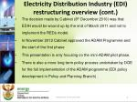 electricity distribution industry edi restructuring overview cont
