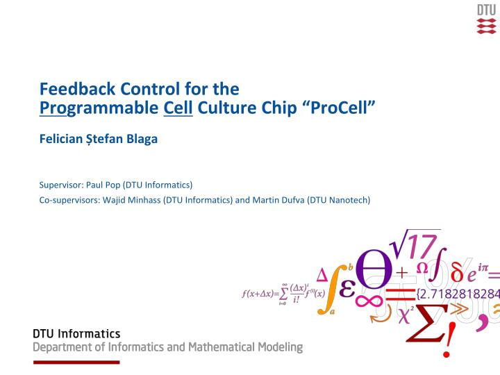 feedback control for the pro grammable cell culture chip procell n.