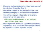 reminders for 2009 2010