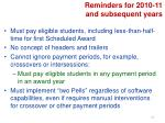 reminders for 2010 11 and subsequent years