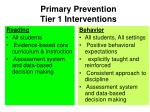 primary prevention tier 1 interventions