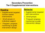 secondary prevention tier ii supplemental interventions