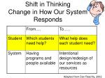 shift in thinking change in how our system responds