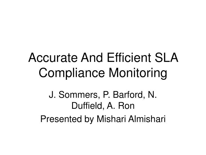 accurate and efficient sla compliance monitoring n.
