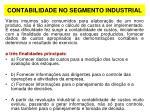 contabilidade no segmento industrial