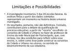 limita es e possibilidades