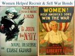 women helped recruit sell war bonds