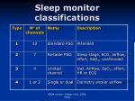 sleep monitor classifications