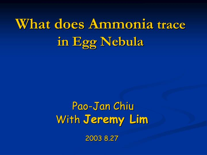 what does ammonia trace in egg nebula n.