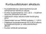 kuntauudistuksen aikataulu