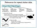 relevance for repeat station data
