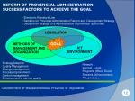 reform of provincial admnistration success factors to achieve the goal
