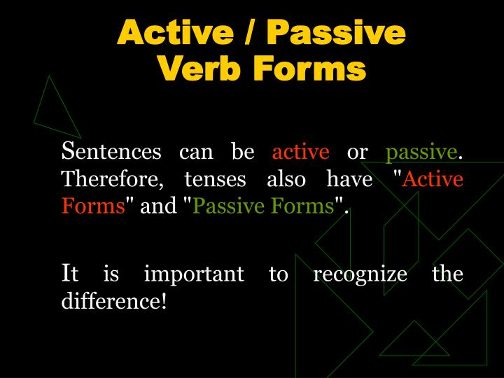 active passive verb forms n.