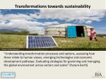 transformations towards sustainability
