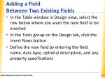 adding a field between two existing fields